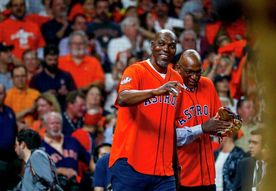 PHOTOS: More from the Hakeem Olajuwon-Clyde Drexler first pitch Hakeem Olajuwon and Clyde Drexler throw out the ceremonial first pitch before Game 6 of the World Series at Minute Maid Park on Tuesday, Oct. 29, 2019, in Houston. Photo: Karen Warren, Staff Photographer / © 2019 Houston Chronicle