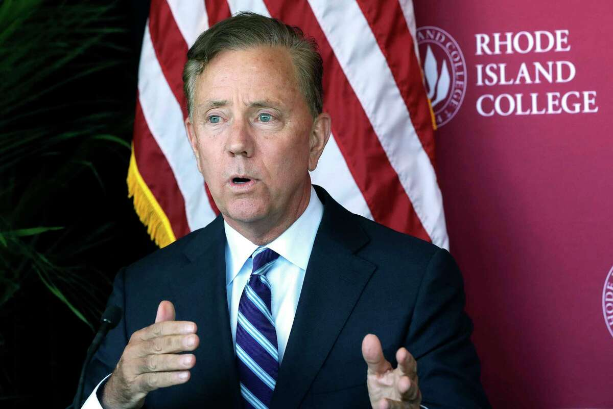Connecticut Gov. Ned Lamont speaks to the media after a private meeting with Rhode Island Gov. Gina Raimondo and Massachusetts Gov. Charlie Baker Oct. 24 to discuss issues of regional importance on the campus of Rhode Island College in Providence, R.I.