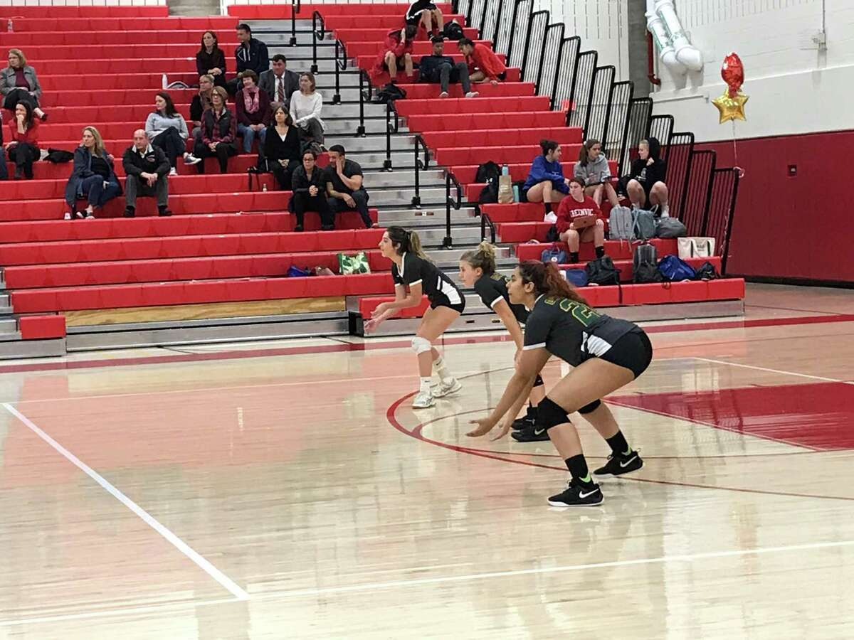 The Trinity Catholic volleyball team lost to Greenwich, 3-0 on Tuesday, October 29, 2019.