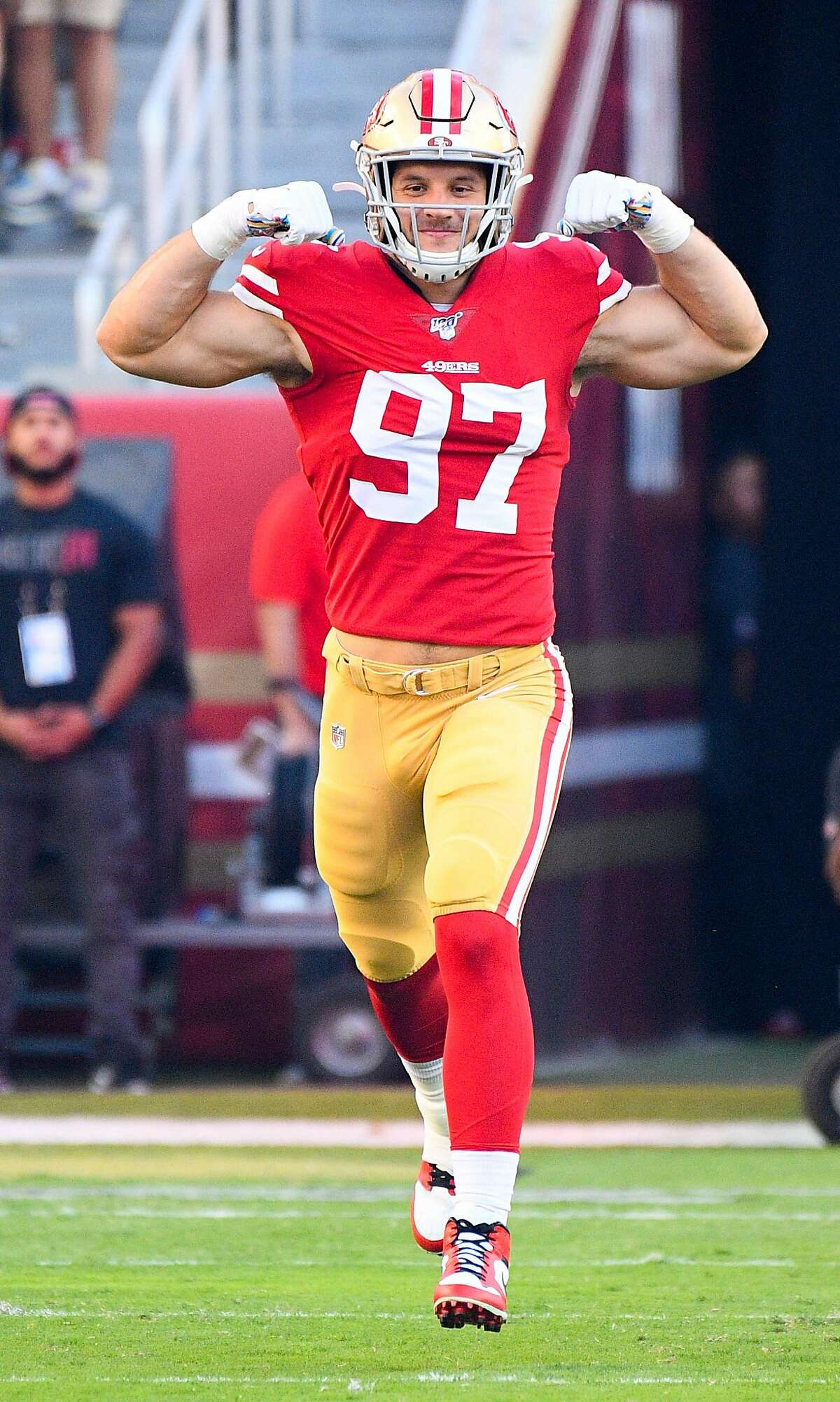 SANTA CLARA, CA - OCTOBER 07: San Francisco 49ers Defensive End Nick Bosa (97) takes the field during the National Football League game between the Cleveland Browns and the San Francisco 49ers on October 7, 2019, at Levi's Stadium in Santa Clara, CA. (Photo by Brian Rothmuller/Icon Sportswire via Getty Images)
