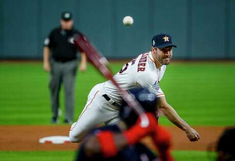 Houston Astros starting pitcher Justin Verlander (35) pitches during Game 6 of the World Series at Minute Maid Park on Tuesday, Oct. 29, 2019, in Houston.