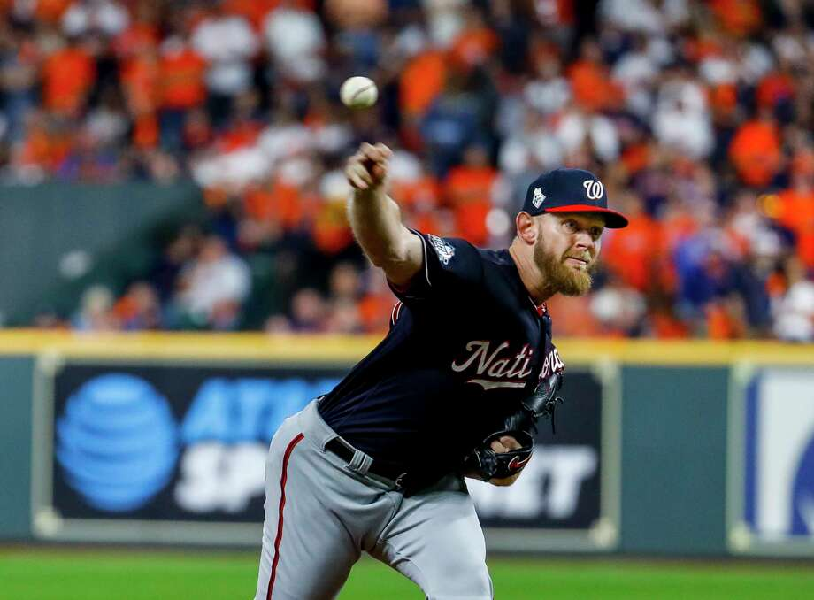 Washington Nationals starting pitcher Stephen Strasburg (37) pitches during the first inning of Game 6 of the World Series at Minute Maid Park on Tuesday, Oct. 29, 2019, in Houston. Photo: Brett Coomer, Staff Photographer / © 2019 Houston Chronicle
