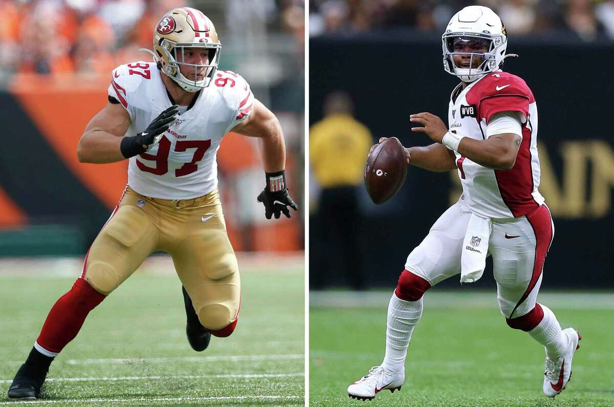 Nick Bosa (left) of the San Francisco 49ers rushes the quarterback during the game against the Cincinnati Bengals at Paul Brown Stadium on September 15, 2019 in Cincinnati, Ohio. The 49ers defeated the Bengals 41-17. (Photo by Michael Zagaris/San Francisco 49ers/Getty Images)Kyler Murray (right) of the Arizona Cardinals in action during a game against the New Orleans Saints at the Mercedes Benz Superdome on October 27, 2019 in New Orleans, Louisiana.