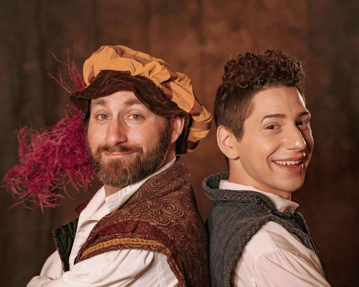 """Warner Stage Company members Frank Beaudry as Nick Bottom and Zachary Taylor as Nigel Bottom, star in """"Something Rotten"""" at the Warner Theatre."""