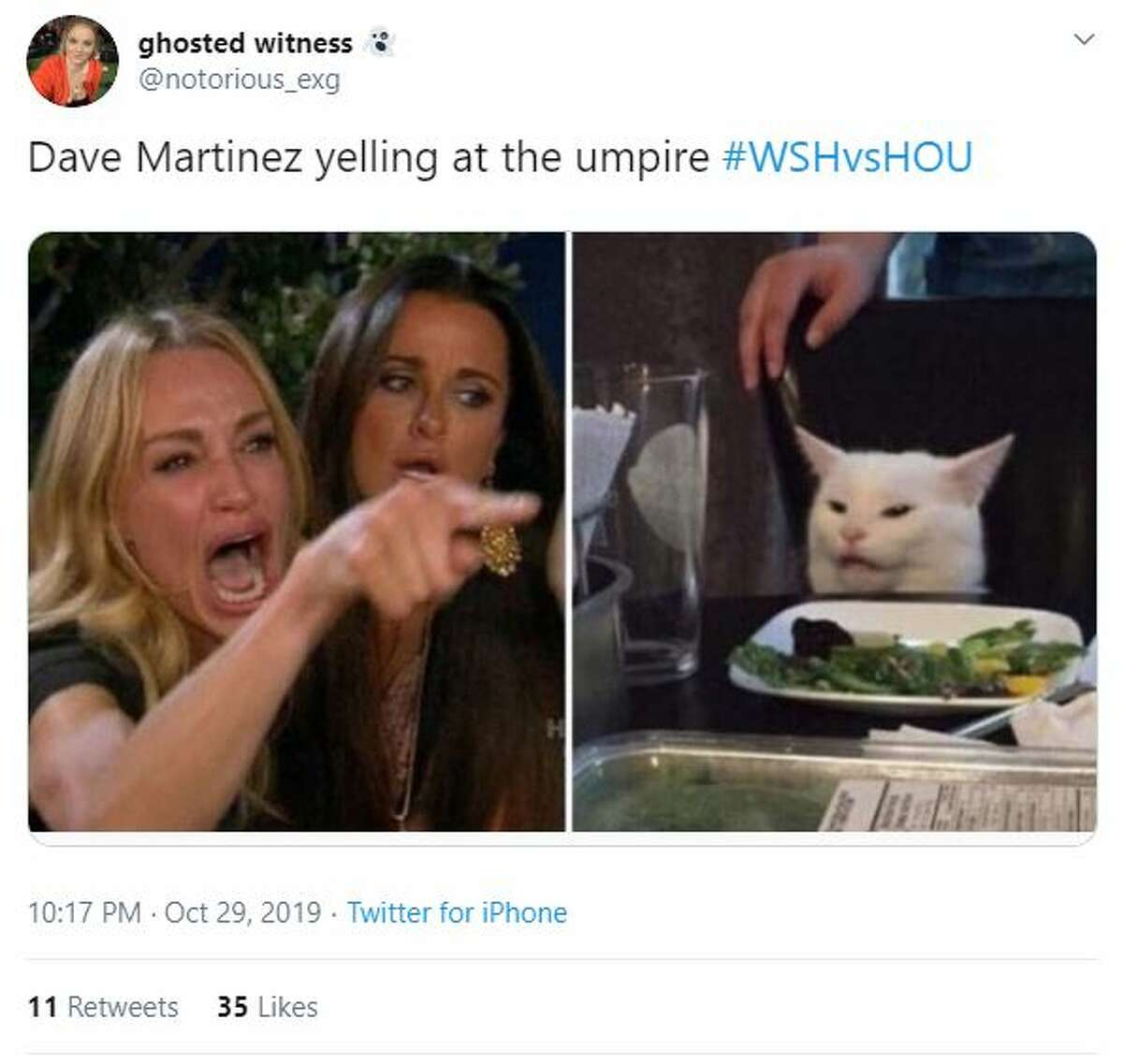 Twitter reaction to Nationals Manager Dave Martinez being ejected during the seventh inning of Game 6 of the 2019 World Series.