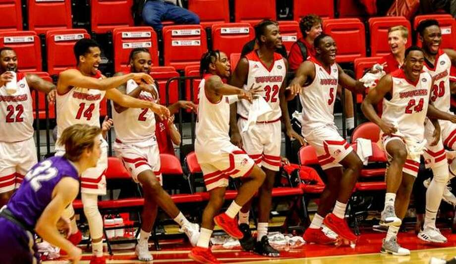 SIUE players cheer from the bench during Wednesday's exhibition win over Fontbonne. Photo: SIUE Athletics