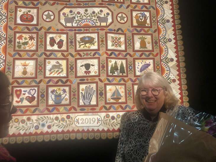 "Janet Stone of Overland Park, Kan., won the 2019 International Quilt Festival's top prize, the Handi Quilter Best of Show Award. Her quilt is titled ""Crazy Four Ewe."""