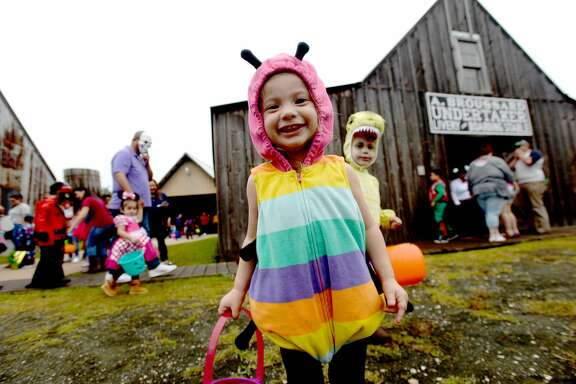 Jaycelynn Crocker joins the superheros, monsters, mermaids and more that filled the grounds at the annual Spindletop - Gladys City Boomtown Museum Spindletop Spookfest Tuesday.  Photo taken Tuesday, October 29, 2019 Kim Brent/The Enterprise