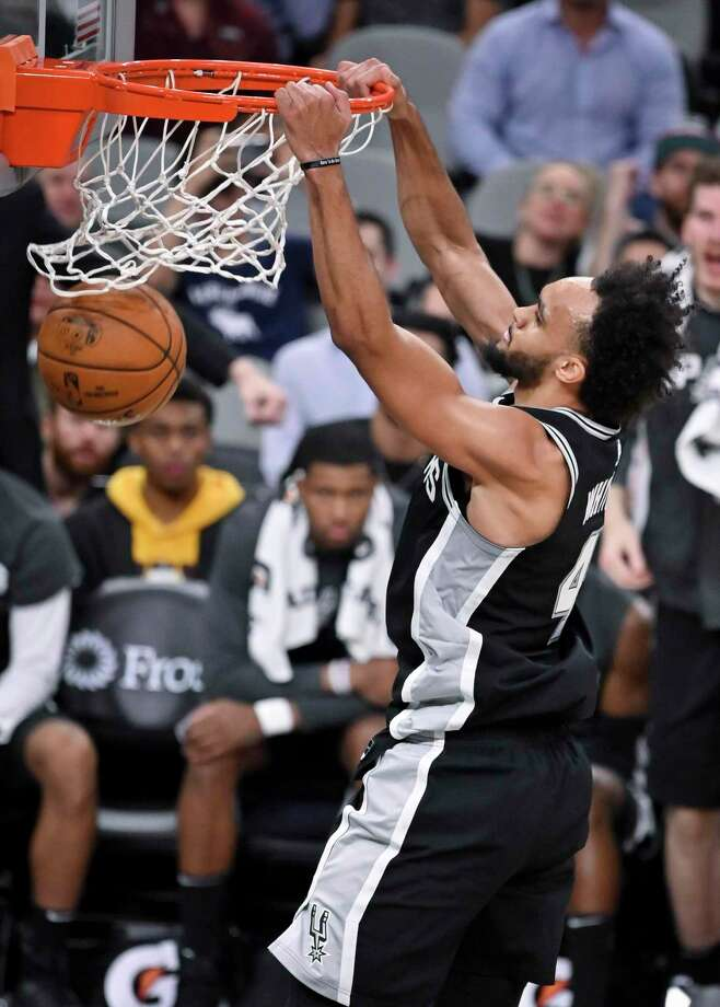 Derrick White scored 21 points off the bench in the Spurs' win over the Blazers Monday. Photo: Darren Abate /Associated Press / Copyright 2019 The Associated Press. All rights reserved.