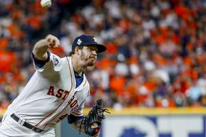 Houston Astros relief pitcher Chris Devenski (47) pitches during the ninth inning of Game 6 of the World Series at Minute Maid Park on Tuesday, Oct. 29, 2019, in Houston.