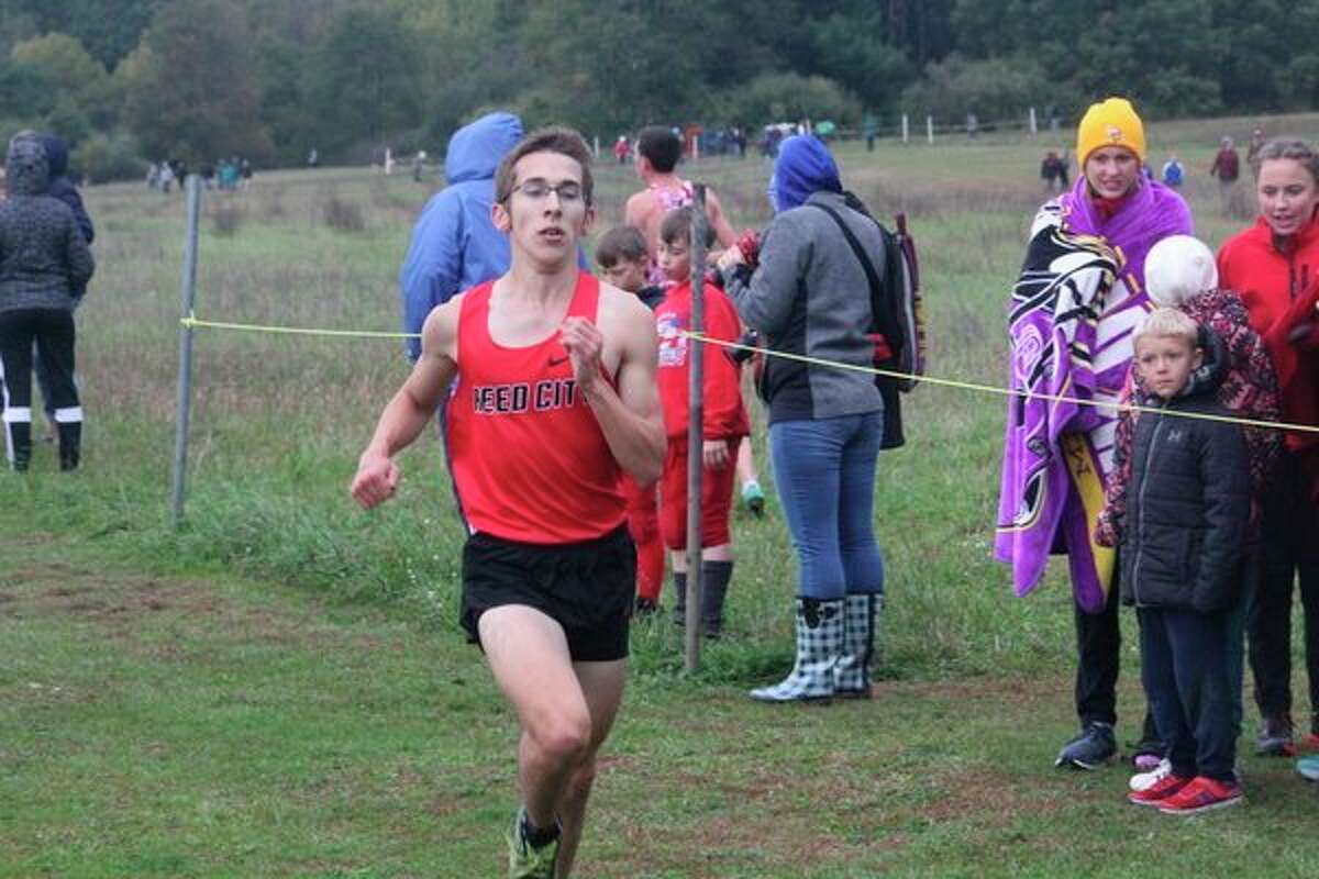 Reed City's Jared Karns finishes his race atChippewa Hillsrecently. (Herald Review photo/John Raffel)