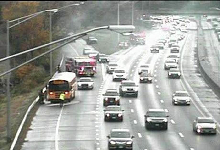 State Police and the Greenwich Fire Department responded to accident involving a school bus on I-95 on Wednesday, Oct. 20, 2019. The accident, reported at 7:51 a.m. Wednesday, involved a motor vehicle and a school bus near Exit 3. Photo: DOT Traffic Cam