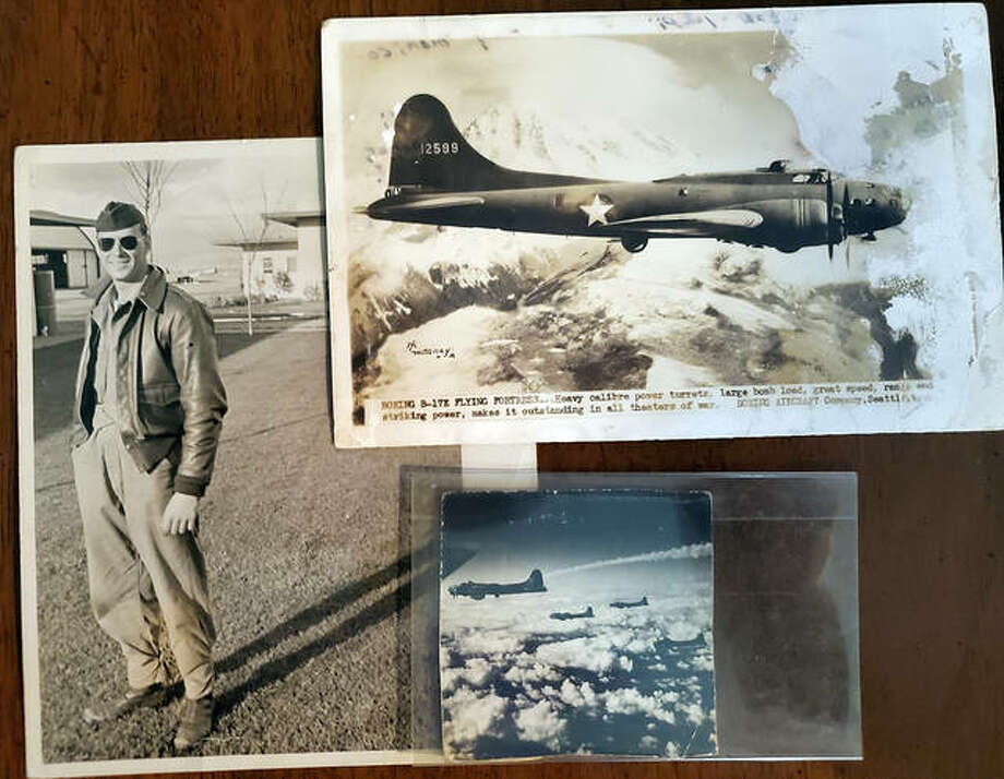 Carl Stanley Jr., left, a World War II turret gunner and Belleville native, flew 35 missions during 1944 and 1945. He kept a journal of them. Stanley and his crew flew a B-17 bomber, upper and lower right corners.
