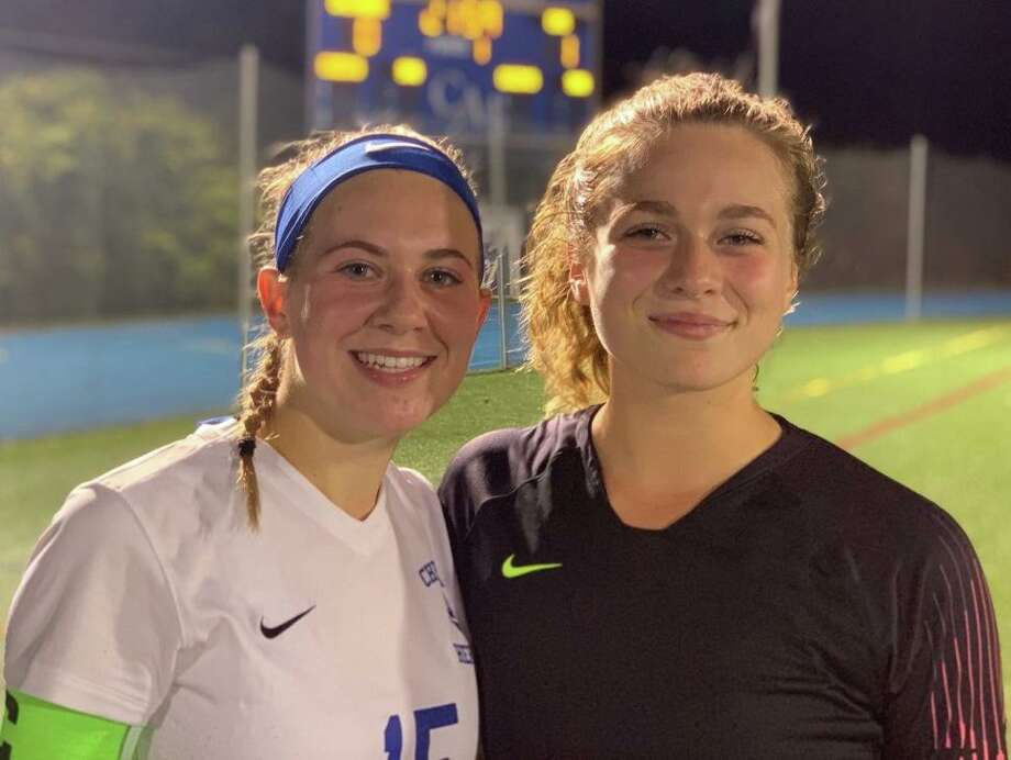 Mia Angelini and Ainiah Perretta helped Christian Heritage post wins over Cheshire Academy and St. Andrew's School (R.I.) Photo: Contributed Photo / Christian Heritage Athletics / Trumbull Times