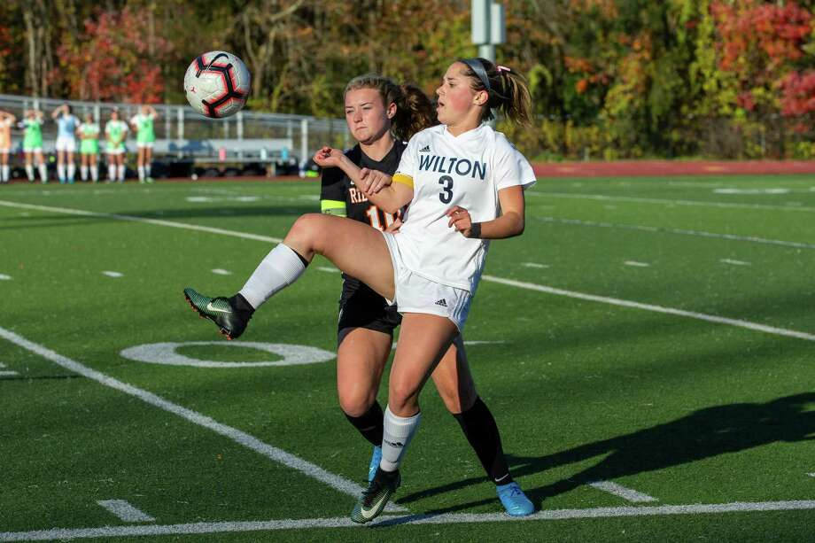 Sophie Sudano and the Wilton girls soccer team begin the postseason with a conference quarterfinal game at New Canaan. Photo: Gretchen McMahon / For Hearst Connecticut Media