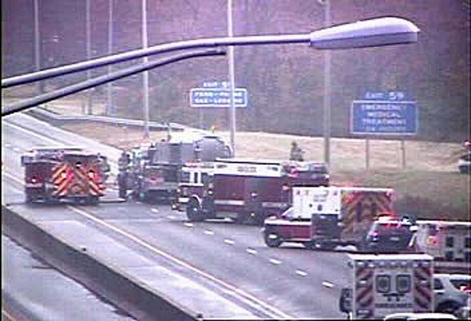 Southbound I-95 is closed in Guilford because of a truck tanker accident late Wednesday morning. Photo: DOT Traffic Cam
