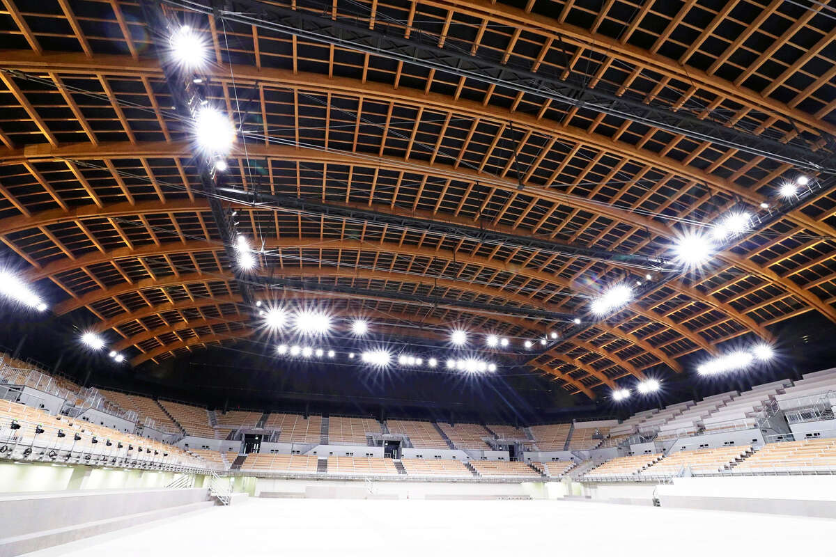 """The newly built venue for artistic gymnastics and other events at the 2020 Tokyo Olympic and Paralympic Games was previewed for the media on Tuesday. The Ariake Gymnastics Centre will be the venue for three gymnastic disciplines at the Olympics and the Paralympic sport of boccia. With a seating capacity of 12,000, the arena was constructed under the concept of """"a wooden vessel floating in the bay area."""""""