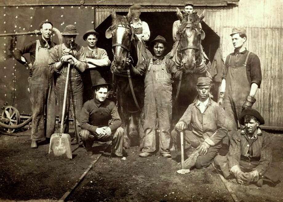 Work crew at Desmond Chemical Works, Carter Siding, about 1916. (Courtesy photo/Benzie Area Historical Museum)