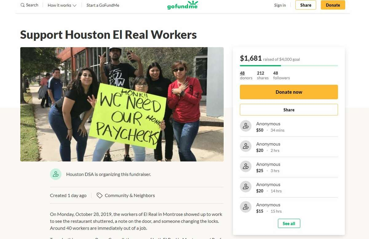 Former employees of the abruptly shuttered Montrose Tex-Mex restaurant, El Real Tex-Mex Café, are accusing the owner of not paying them and are now at the center of a fundraiser that aims to offset the loss from their allegedly missing wages.