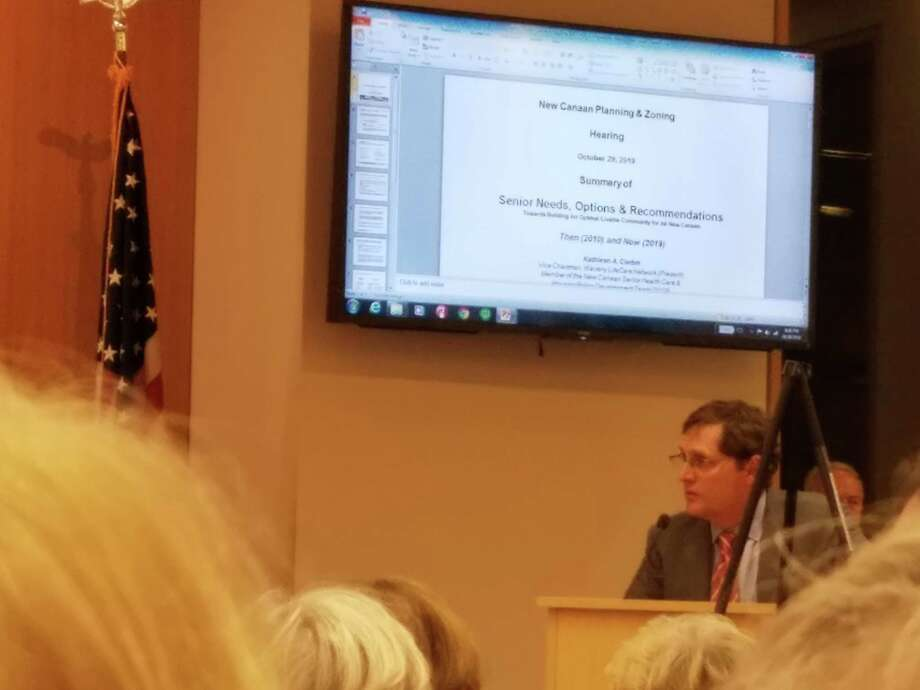 It was standing room only in New Canaan Town Hall  at the Planning and Zoning Commission meeting as the 70-unit senior retirement facility was discussed on Tuesday, Oct. 29, 2019. Photo: Grace Duffield