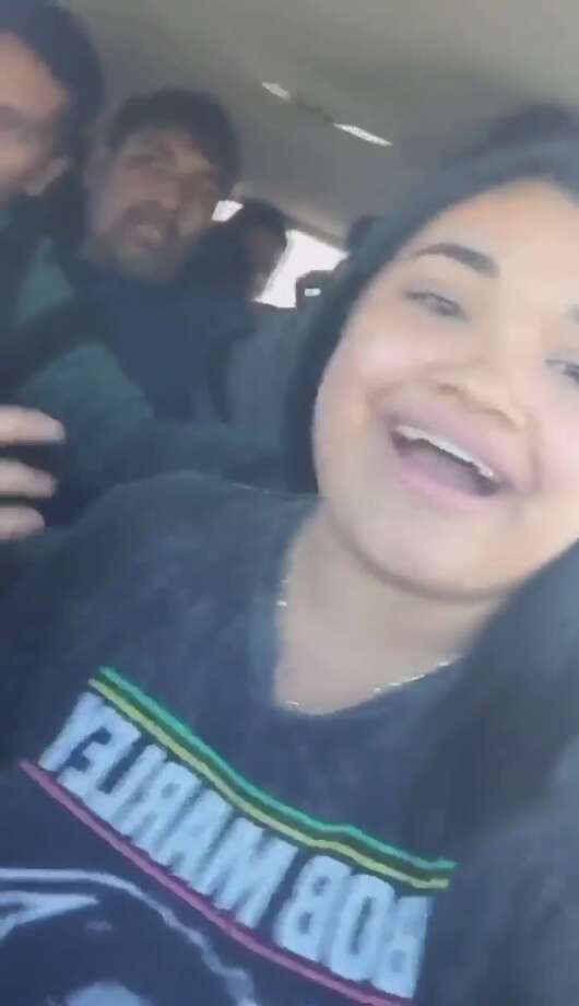 Screenshots taken from the live video posted on Facebook show Karyme Espinoza, 19, and a group of passengers who are suspected of entering the country illegally. Photo: Facebook.com