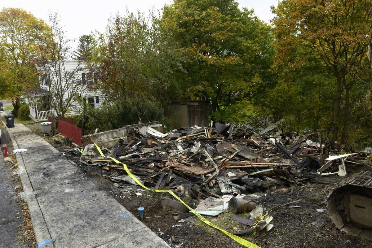 A view of debris left from a house that was destroyed by fire, on Green Avenue, seen here on Wednesday, Oct. 30, 2019, in Castleton-on-Hudson, N.Y. (Paul Buckowski/Times Union)