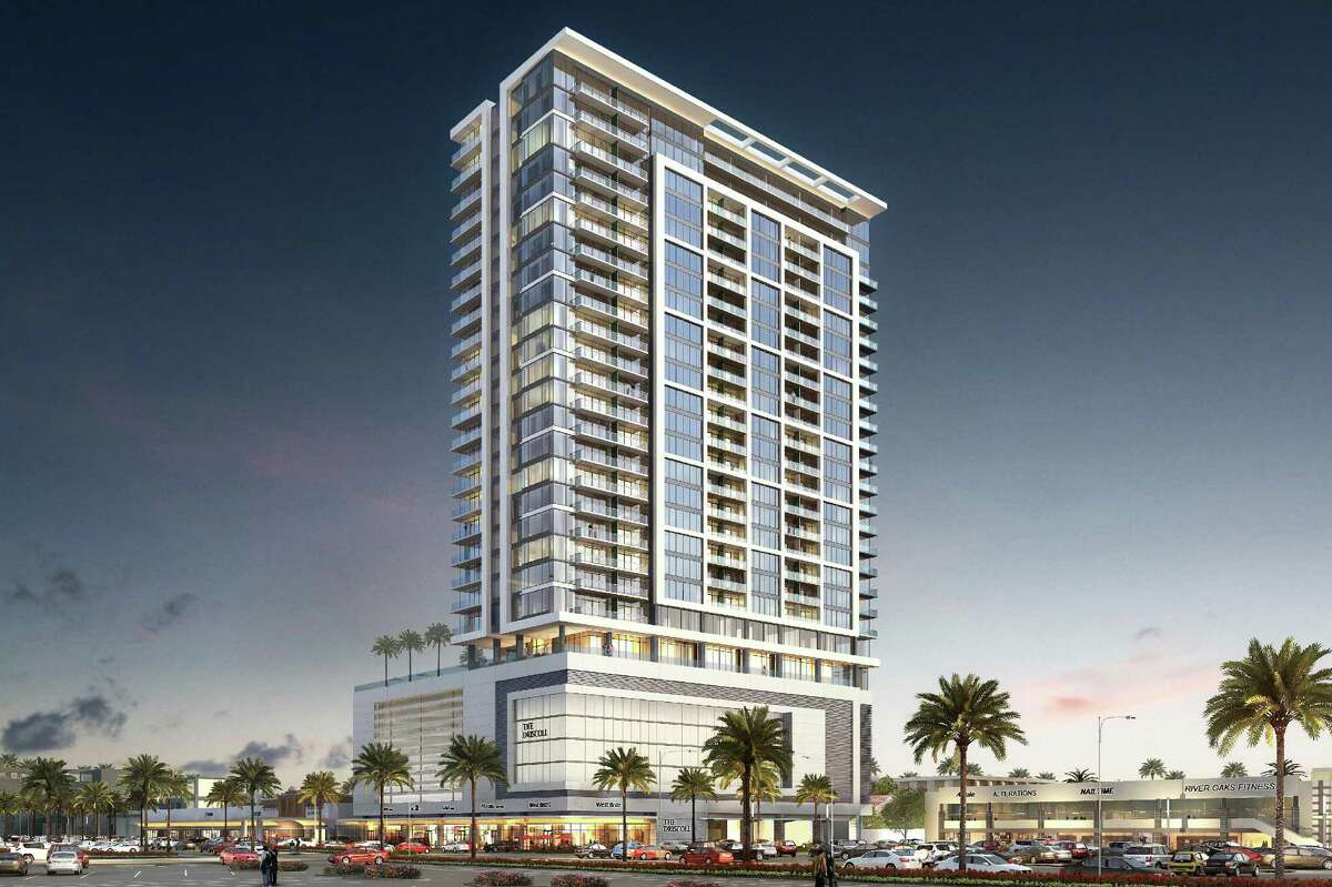 Rendering shows the planned 29-story Driscoll tower in the River Oaks Shopping Center.