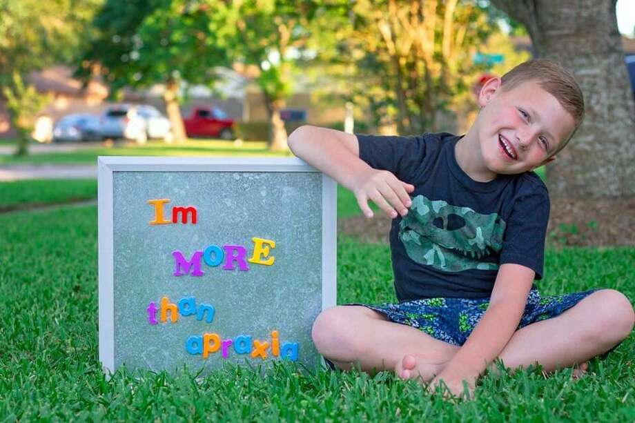 Logan Drummond, 7, has apraxia, a neurological disorder that makes it a challenge for him to express himself in spoken words. Hi parents work to inform the public about the condition. Photo: Courtesy Megan Drummond / Courtesy Megan Drummond