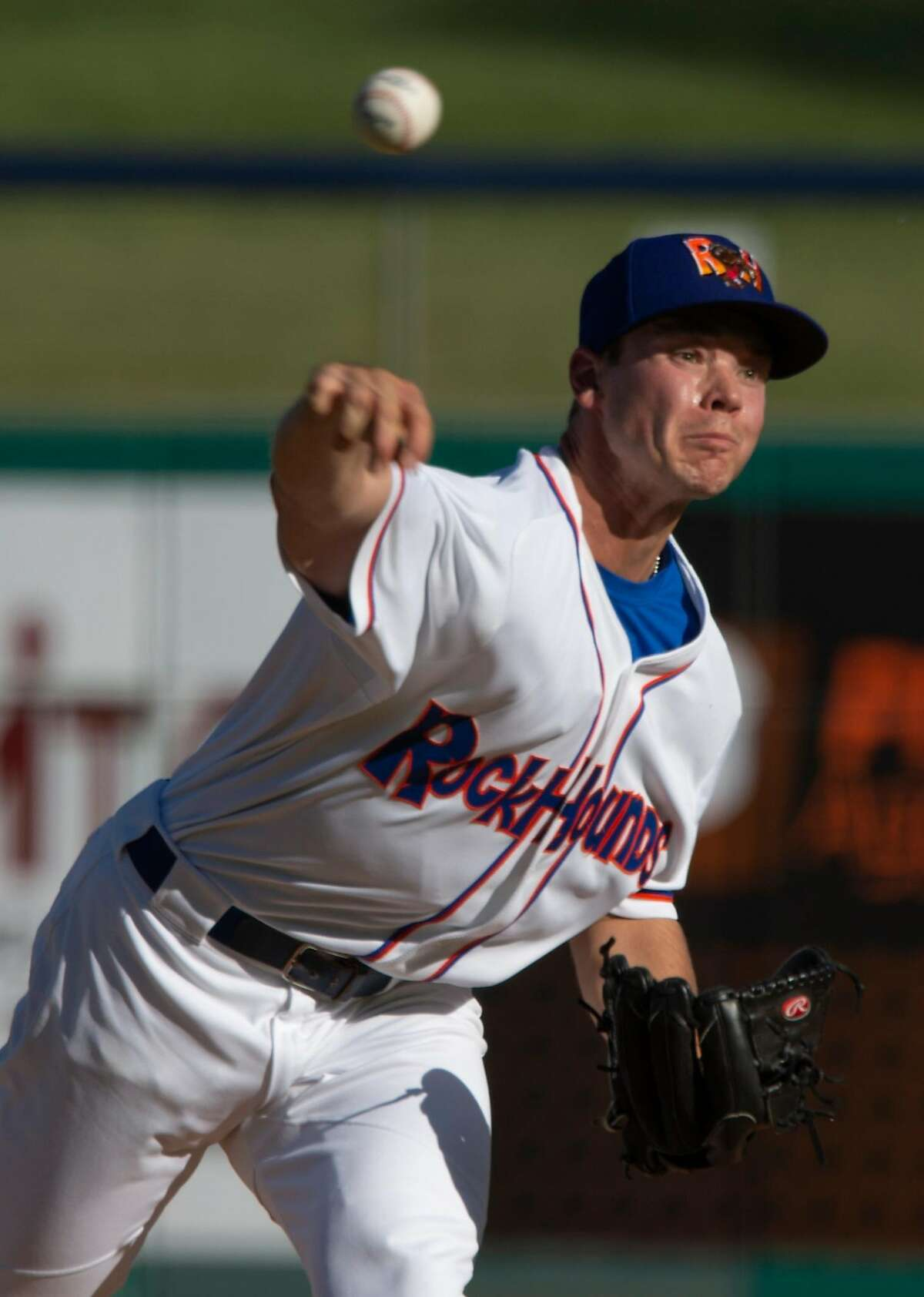 Midland RockHounds starting pitcher Daulton Jefferies delivers a pitch 05/28/19 as they take on the Corpus Christi Hooks at Security Bank Ballpark. Tim Fischer/Reporter-Telegram