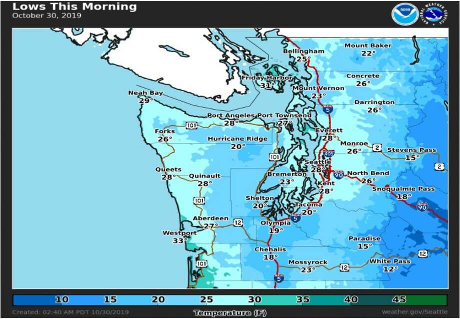 Low temperatures on Wednesday morning dipped to 28 degrees in Seattle. Photo: Courtesy NWS