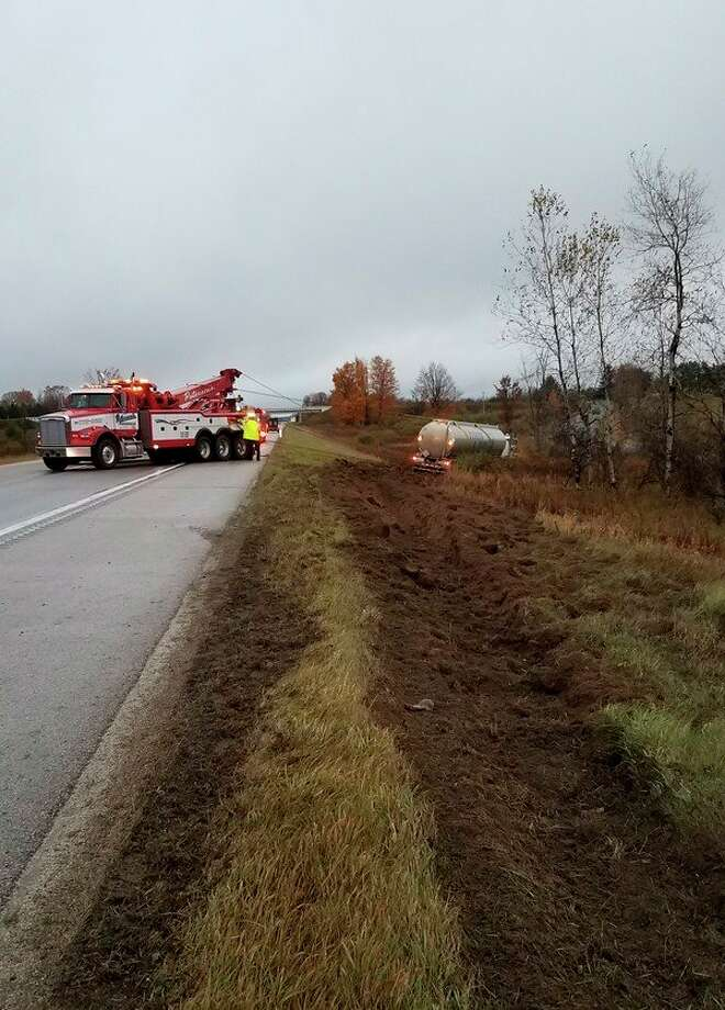 Deputies with the Osceola County Sheriff's Office responded to a report of a semi-truck hauling a fuel tanker in the ditch on northbound U.S. 131 south of 18 Mile Road in LeRoy Township Tuesday morning. An investigation into the incident is compete and alcohol is not believed to be a factor, police said. (Courtesy photo)