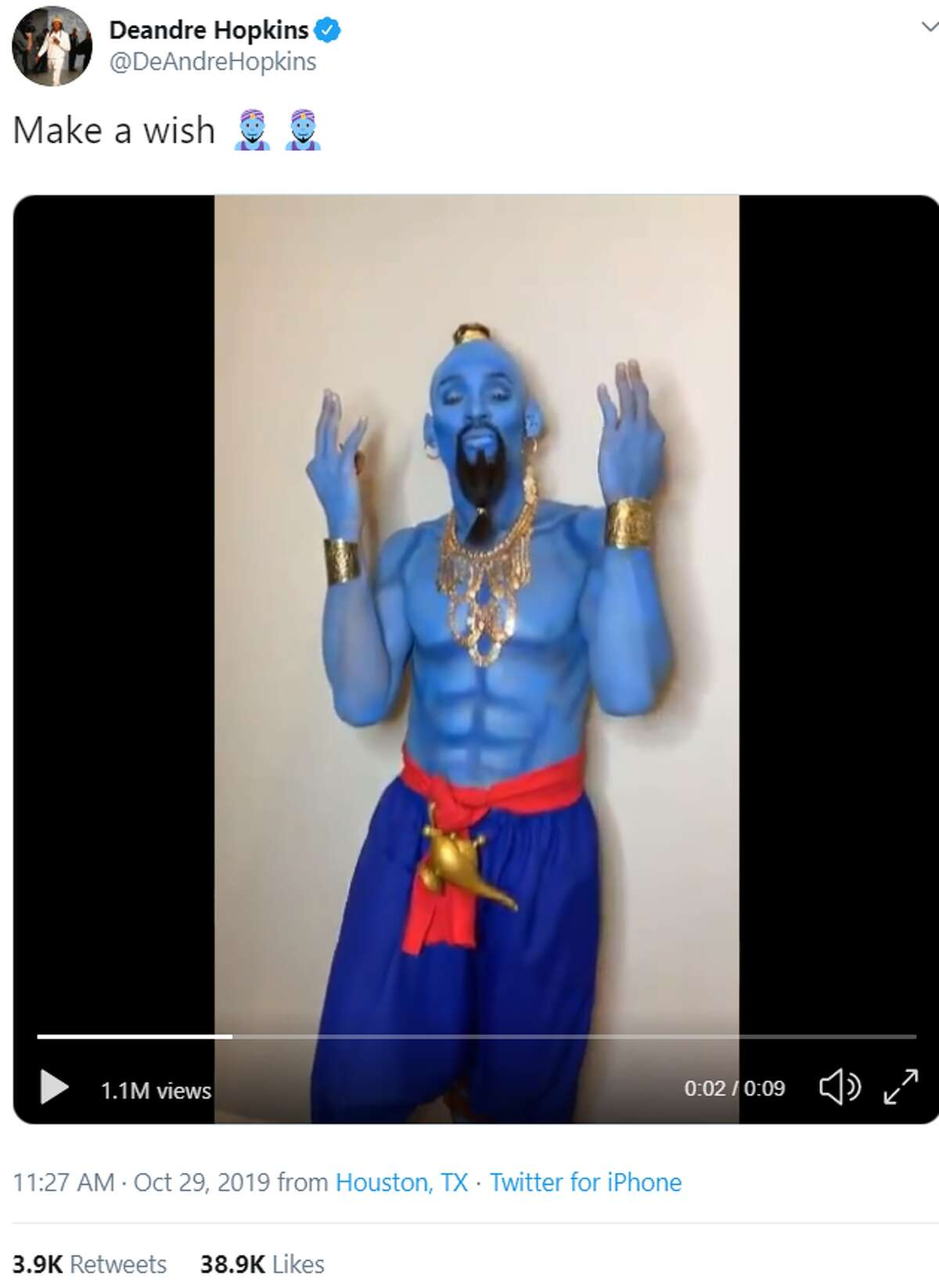 Texans receiver DeAndre Hopkins as The Genie