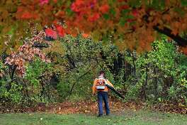 Kevin Pisarski, an employee of M Romano and Son, blows leaves into the woods from the lawn of Blessed Virgin Mary of Czestochowa church on Wednesday, Oct. 30, 2019 in Colonie N.Y. (Lori Van Buren/Times Union)