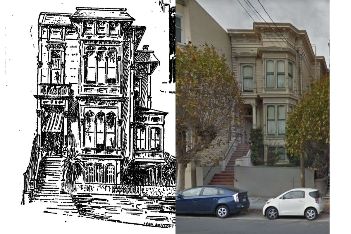 2930 California Street in San Francisco, seen in a San Francisco Chronicle drawing from 1896 and Google Street View today.