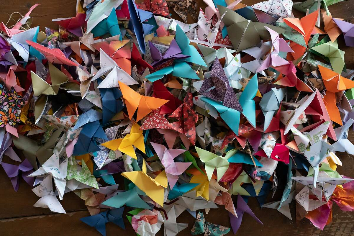 Some of the origami butterflies made by children to represent immigrant children being held at border camps on Sunday, Oct. 13, 2019, in Alameda City, Calif.