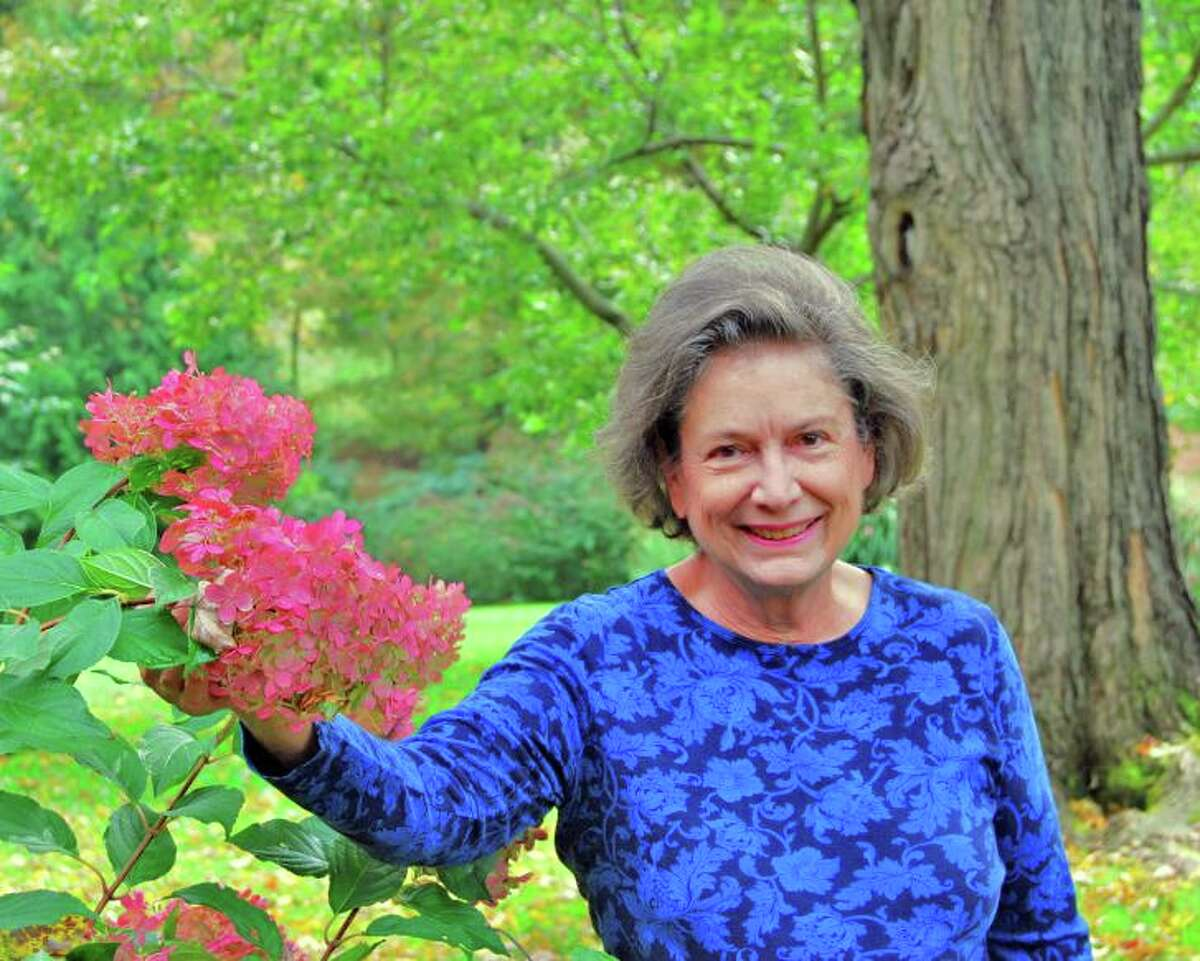 Helen Dimos in her garden.