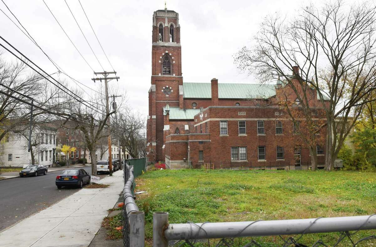 Site of a proposed luxury mixed-use complex at 76 Second Avenue on Wednesday, Oct. 30, 2019, in Albany N.Y. Longtime South End resident Corey Jones has landed a $658,020 grant to develop the project. (Will Waldron/Times Union)