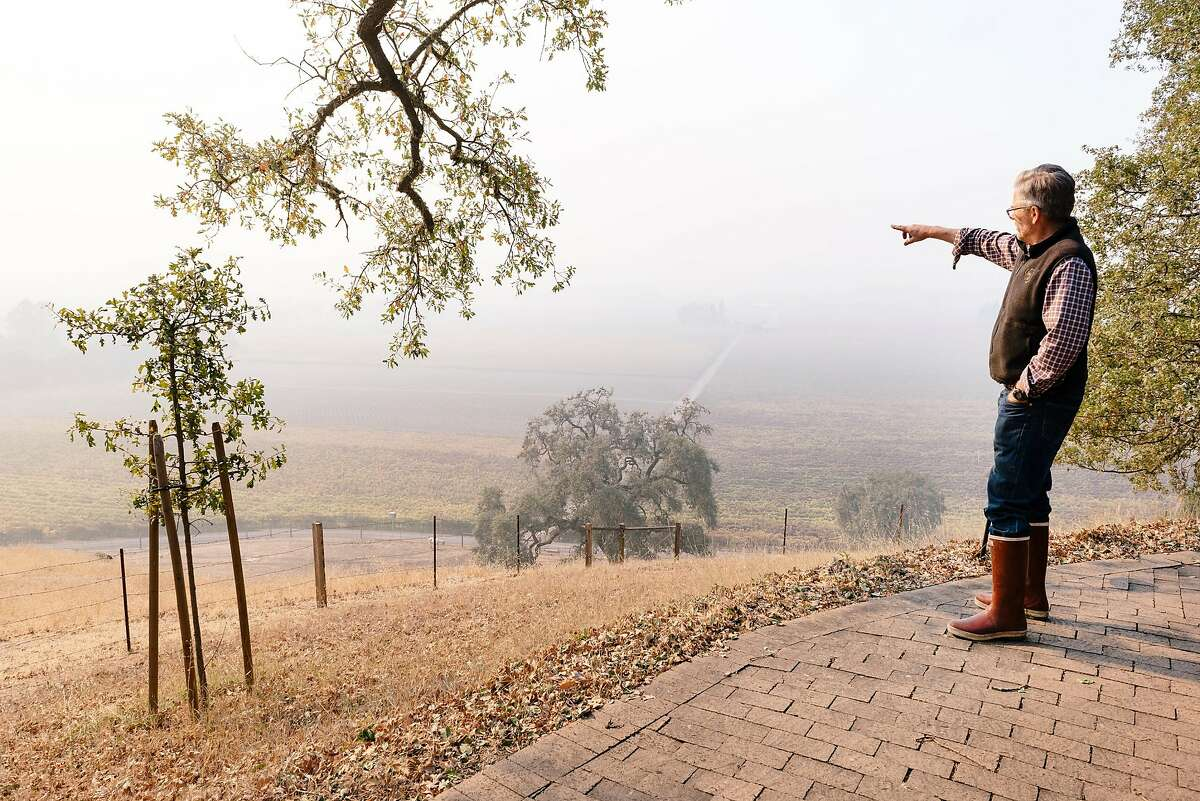 Smoke from the nearby Kincade Fire hang over the vineyard as Parke Hafner, owner and winemaker of Hafner Vienyards, looks out over his property in Healdsburg, California, on Tuesday, Oct. 29, 2019.