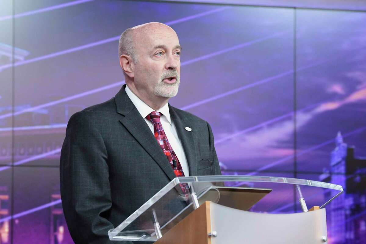 Troy Mayor Patrick Madden speaks at the Troy Mayoral Debate at Spectrum News Albany on Wednesday, Oct. 30, 2019, in Albany, N.Y. (Paul Buckowski/Times Union)