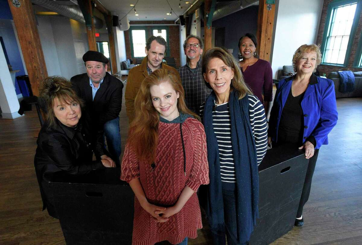 """Andrea Lynn Green and Stephanie Hazard, foreground center, co-artistic directors for Greenwich Theater Company's upcoming production """"7 Easy Pieces"""" are photographed with the actors and actresses at the theaters playhouse at the Arch Street Teen Center in Greenwich, Conn. on Oct. 26, 2019. The new organization is presenting its second show on November 1st, 2nd and 3rd. It's a collection of short plays written by award-winning playwright Jack Rushton and it explores the theme of relationships and the human need for fulfillment. The theater company is interested in supporting new and emerging playwrights, including Rushton. Its mission is to inspire empathy by telling stories of the shared human experience."""