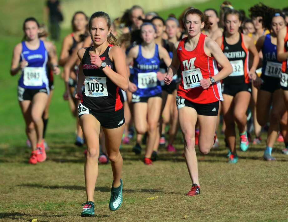 Greenwich's Mari Noble leads the pack during Class LL cross country championship action in Manchester, Conn., on Saturday Oct. 26, 2019. Photo: Christian Abraham / Hearst Connecticut Media / Connecticut Post