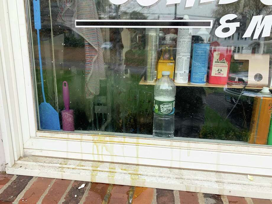 Joey Pelkey, owner of Get Fresh Barber Shop on Saybrook Road in Middletown, said he arrived at work Tuesday to discover eggs had been thrown at the front of his business, the morning after he conduced Facebook live interviews with mayoral candidates Ben Florsheim and Common Councilman Sebastian N. Giuliano. Photo: Joey Pelkey Photo