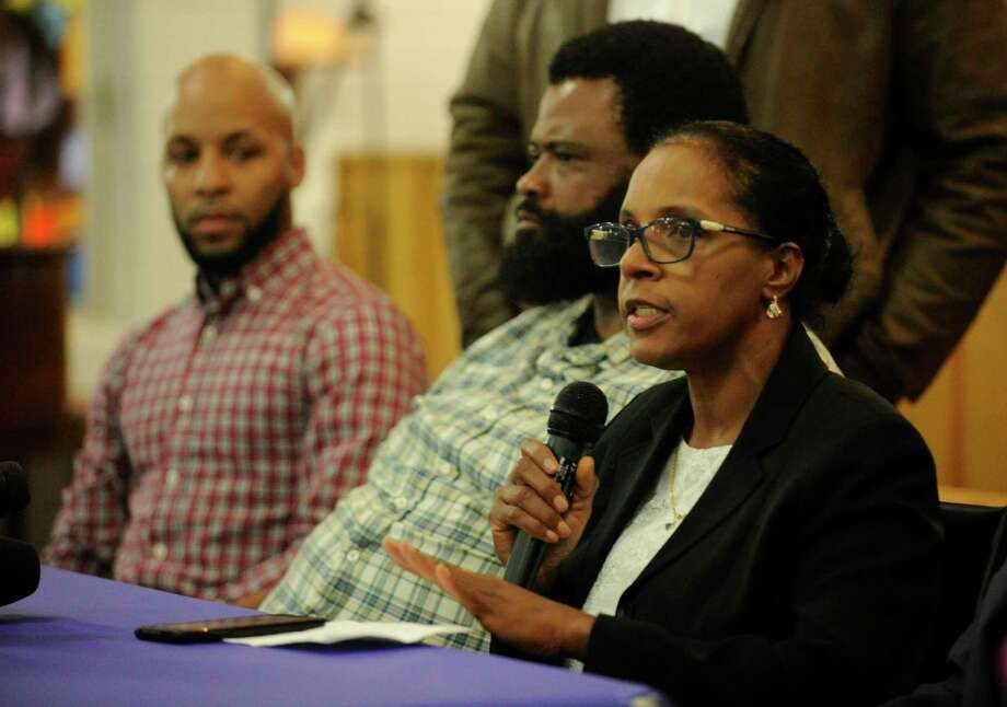Valerie Jaddo, mother of Steven Barrier, comments after reading a prepared statement during a press conference at Bethel AME Church in Stamford on Oct. 30, 2019, regarding the of video footage involving an incident with her son and the Stamford Police Department. Photo: Matthew Brown / Hearst Connecticut Media / Stamford Advocate