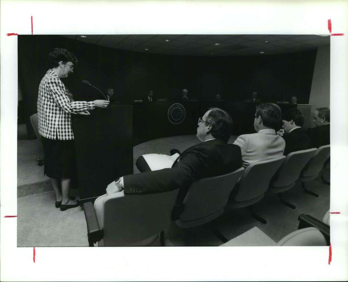 Laura Higley, who was then the mayor of West University Place, speaks to Harris County Appraisal District on an unknown date.