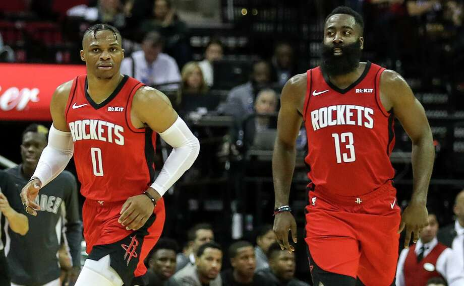 PHOTOS: Rockets vs. Nets  Houston Rockets guard Russell Westbrook (0) and guard James Harden (13) move down court during the third quarter of an NBA basketball game at the Toyota Center on Monday, Oct. 28, 2019, in Houston. >>>See photos from the Rockets' game against the Nets on Friday night ...  Photo: Jon Shapley, Houston Chronicle / Staff Photographer / © 2019 Houston Chronicle