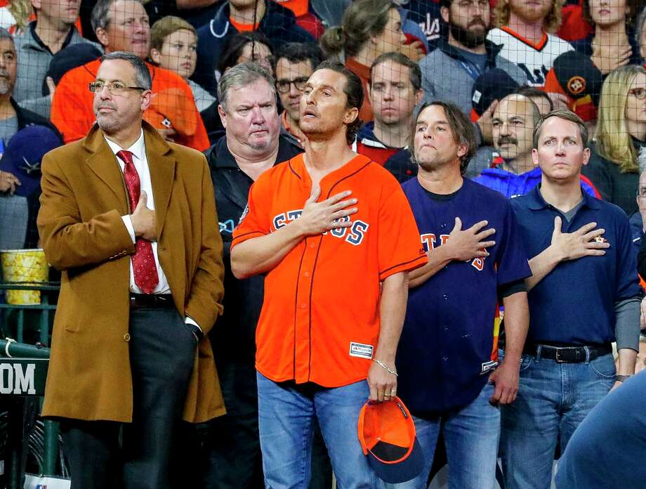 Matthew McConaughey listens to the National Anthem before Game 7 of the World Series at Minute Maid Park on Wednesday, Oct. 30, 2019, in Houston. Photo: Karen Warren, Staff Photographer / © 2019 Houston Chronicle