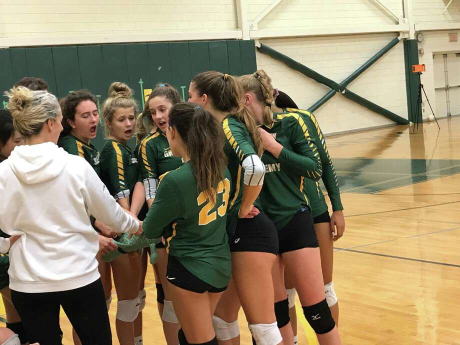 The Greenwich Academy volleyball team huddles up during its match against visiting Choate Rosemary Hall on Wednesday, October 30, 2019, in Greenwich. Choate won the match, 3-1. Photo: David Fierro /Hearst Connecticut Media