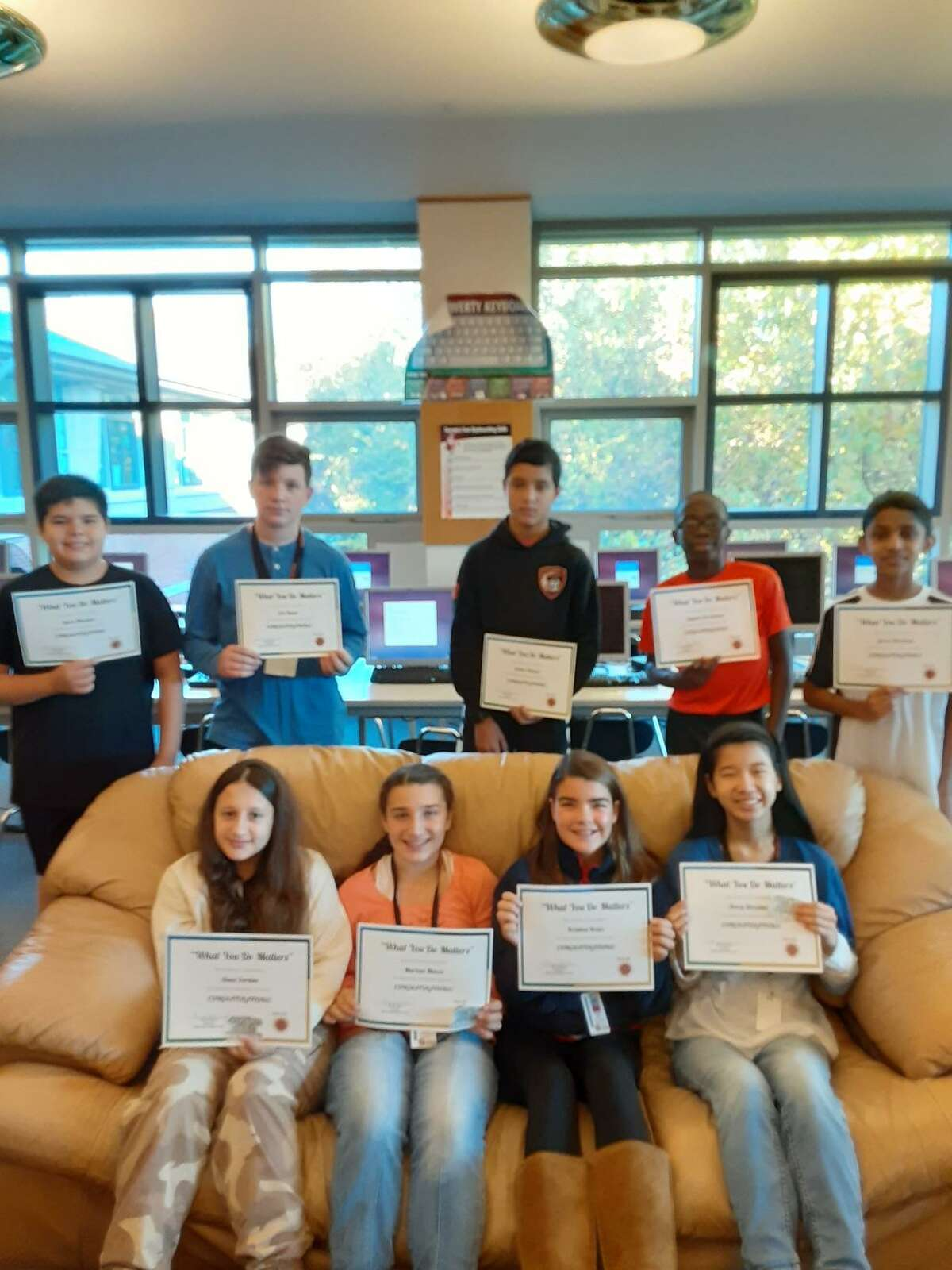 "Winners of the Shelton Intermediate School's ""What You Do Matters"" Character Award."