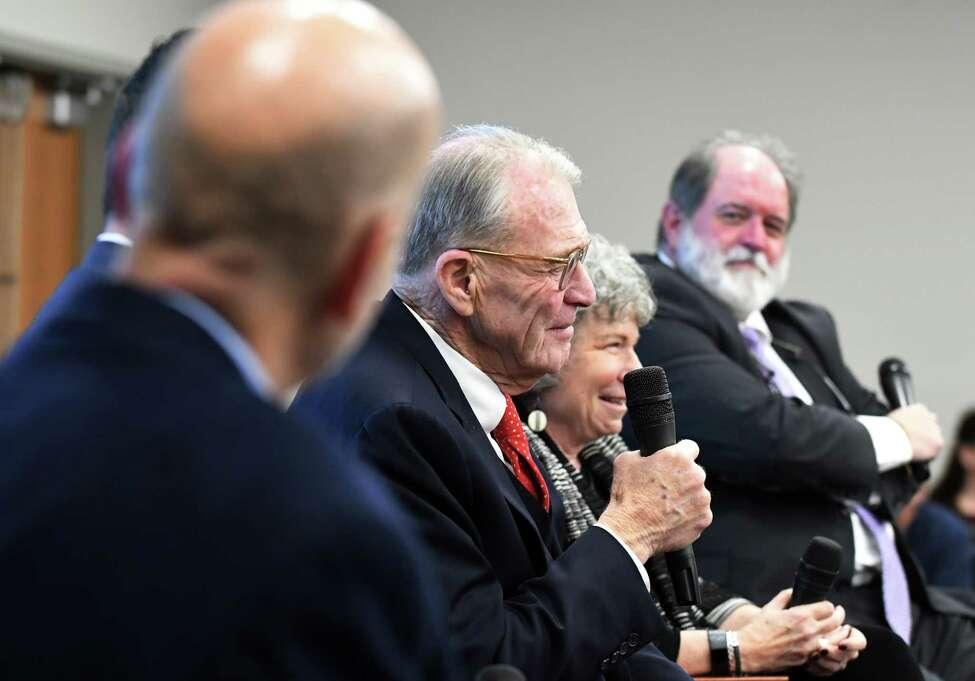 Attorney Terence L. Kindlon, center, speaks during a Christopher Porco panel discussion on Wednesday, Oct. 30, 2019, at the Hearst Media Center in Colonie, N.Y. (Will Waldron/Times Union)