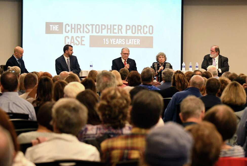 David Rossi, prosecutor, second from left, Terence Kindlon, defense attorney, Laurie Shanks, defense attorney, and Michael McDermott, prosecutor, right, take part in a Christopher Porco panel discussion moderated by Brendan Lyons, left, on Wednesday, Oct. 30, 2019, at the Hearst Media Center in Colonie, N.Y. (Will Waldron/Times Union)